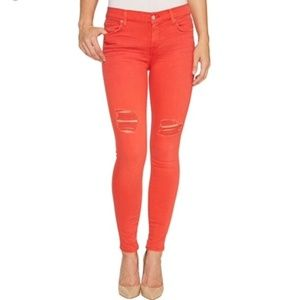7 For All Mankind Orange Distressed Skinny Jeans